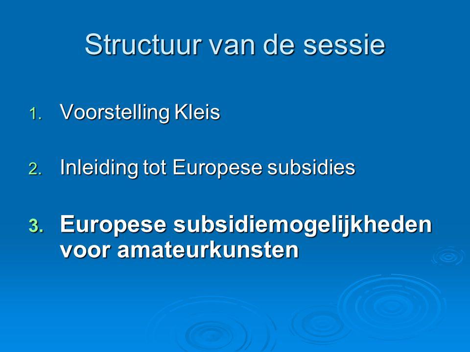 Structuur van de sessie 1. Voorstelling Kleis 2. Inleiding tot Europese subsidies 3.