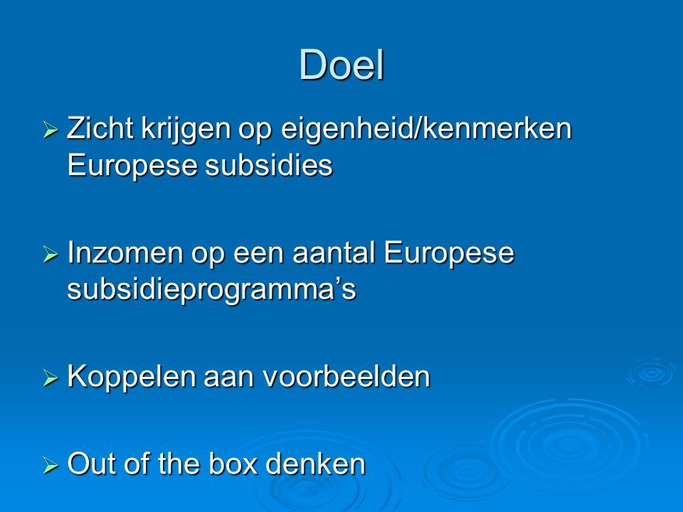 Doel  Zicht krijgen op eigenheid/kenmerken Europese subsidies  Inzomen op een aantal Europese subsidieprogramma's  Koppelen aan voorbeelden  Out of the box denken