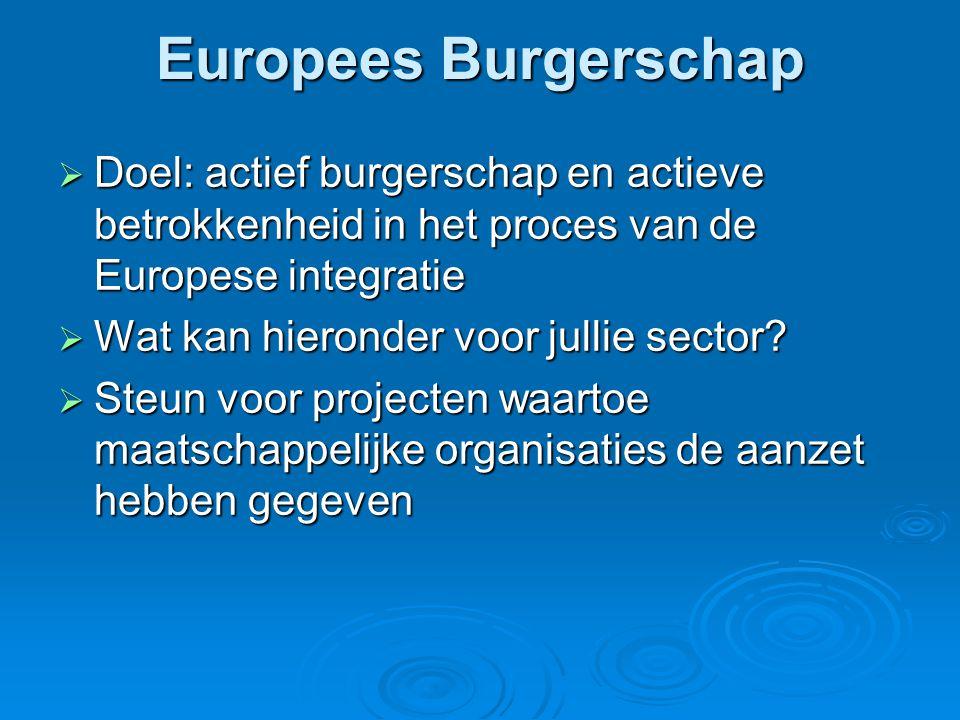 Europees Burgerschap  Doel: actief burgerschap en actieve betrokkenheid in het proces van de Europese integratie  Wat kan hieronder voor jullie sector.