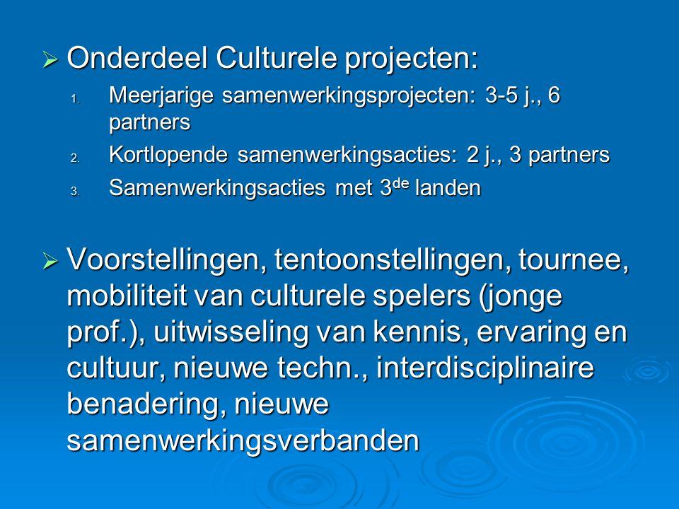  Onderdeel Culturele projecten: 1. Meerjarige samenwerkingsprojecten: 3-5 j., 6 partners 2.