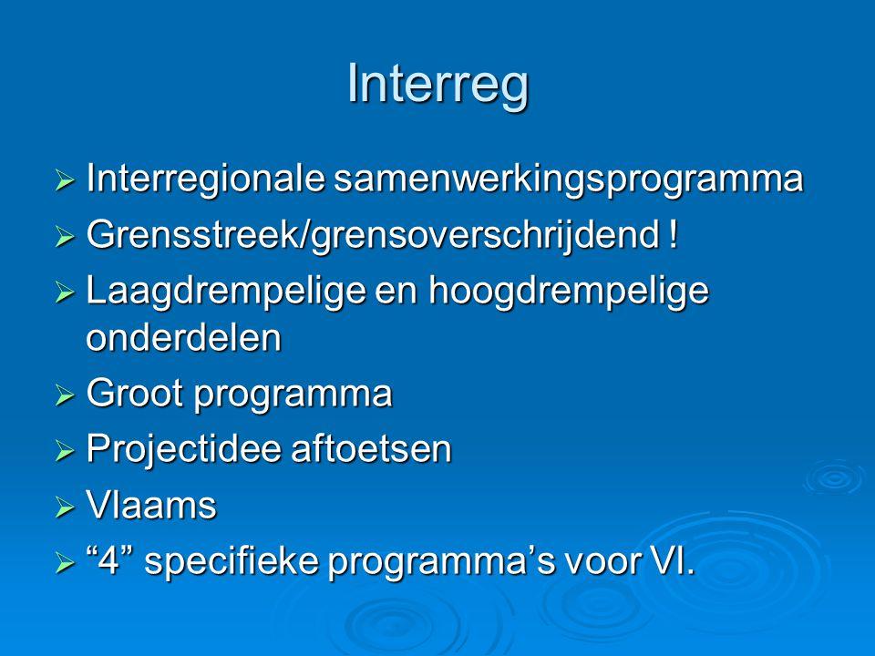Interreg  Interregionale samenwerkingsprogramma  Grensstreek/grensoverschrijdend .