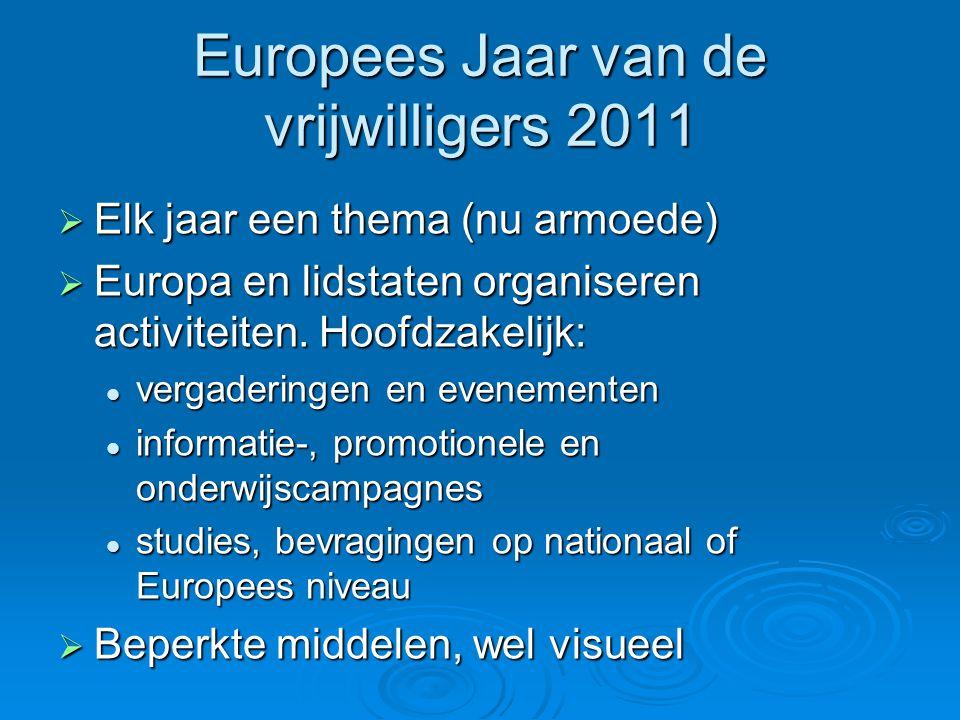 Europees Jaar van de vrijwilligers 2011  Elk jaar een thema (nu armoede)  Europa en lidstaten organiseren activiteiten.