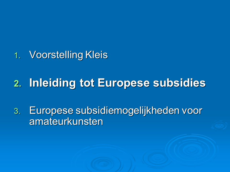 DANK .Kleis vzw Kenniscentrum sociaal Europa Tel.