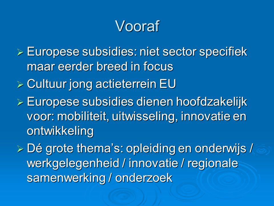 Vooraf  Europese subsidies: niet sector specifiek maar eerder breed in focus  Cultuur jong actieterrein EU  Europese subsidies dienen hoofdzakelijk voor: mobiliteit, uitwisseling, innovatie en ontwikkeling  Dé grote thema's: opleiding en onderwijs / werkgelegenheid / innovatie / regionale samenwerking / onderzoek
