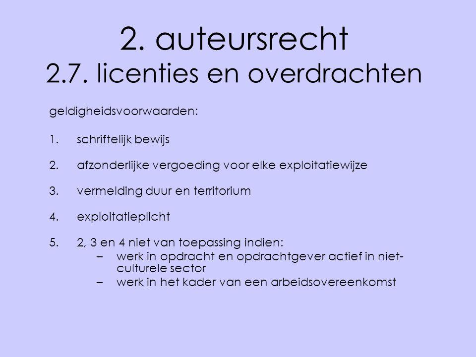 2. auteursrecht 2.7. licenties en overdrachten geldigheidsvoorwaarden: 1.schriftelijk bewijs 2.afzonderlijke vergoeding voor elke exploitatiewijze 3.v