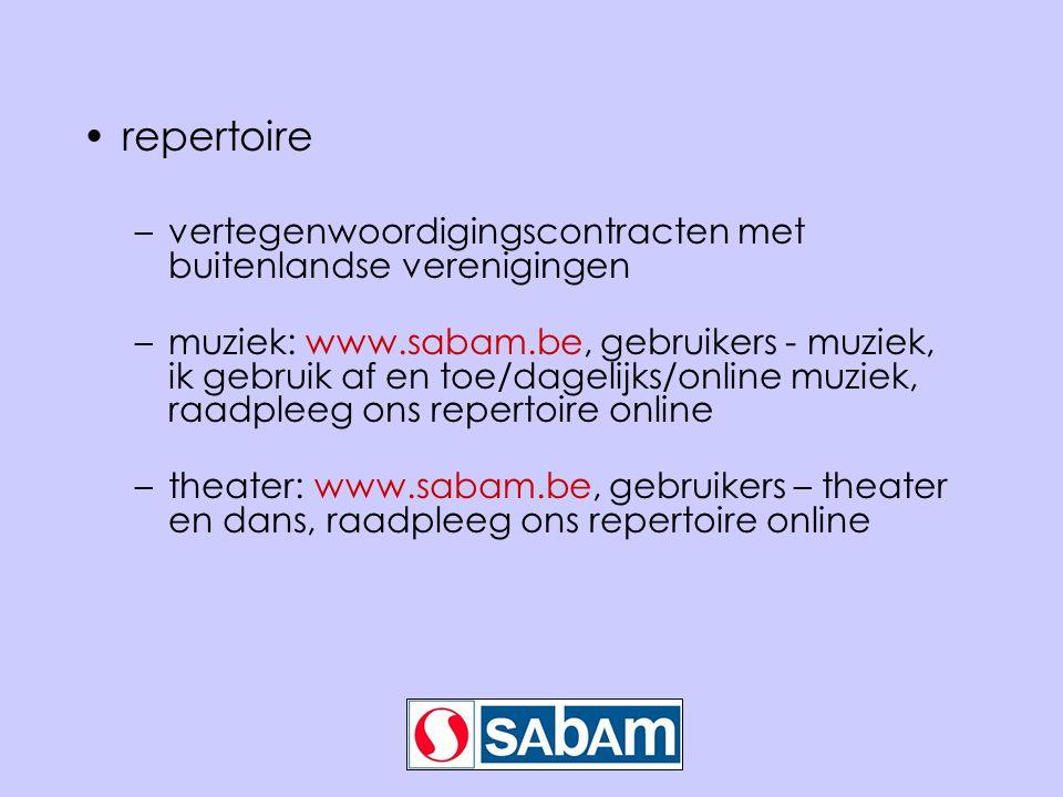 •repertoire –vertegenwoordigingscontracten met buitenlandse verenigingen –muziek: www.sabam.be, gebruikers - muziek, ik gebruik af en toe/dagelijks/on