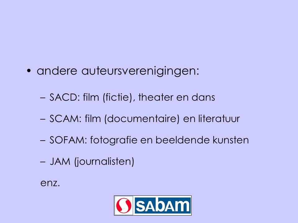 •andere auteursverenigingen: –SACD: film (fictie), theater en dans –SCAM: film (documentaire) en literatuur –SOFAM: fotografie en beeldende kunsten –J