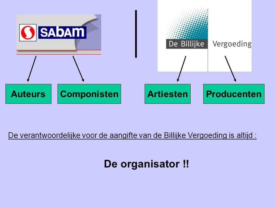AuteursComponistenArtiestenProducenten De verantwoordelijke voor de aangifte van de Billijke Vergoeding is altijd : De organisator !!