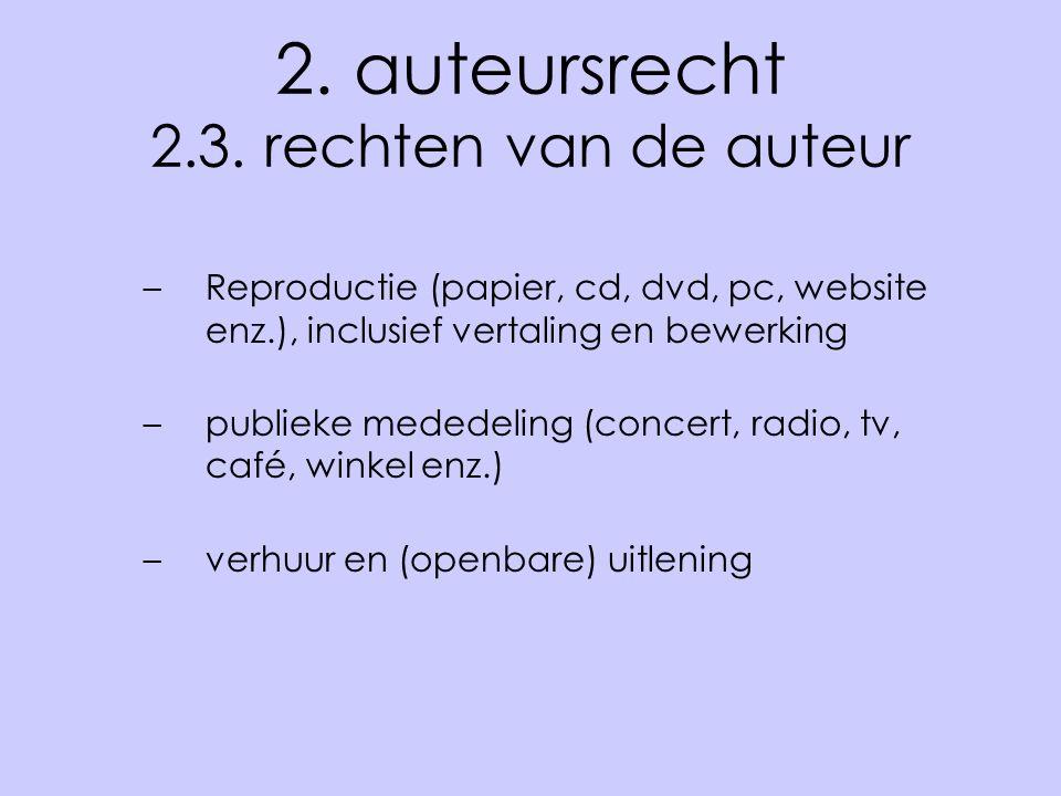 2. auteursrecht 2.3. rechten van de auteur –Reproductie (papier, cd, dvd, pc, website enz.), inclusief vertaling en bewerking –publieke mededeling (co