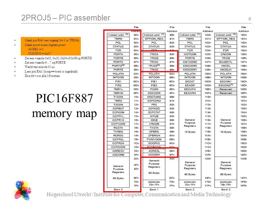 2PROJ5 – PIC assembler •Maak pin RA1 een ingang (bit 1 in TRISA) •Maak poort A een digitale poort: ANSEL = 0 CMCON0 = 0x07 •Zet een waarde 0x01, 0x02,