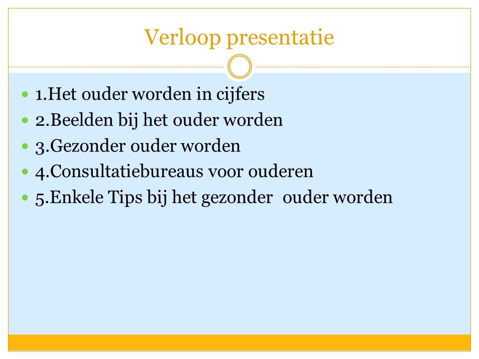 Verloop presentatie  1.Het ouder worden in cijfers  2.Beelden bij het ouder worden  3.Gezonder ouder worden  4.Consultatiebureaus voor ouderen  5
