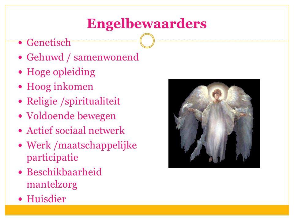 Engelbewaarders  Genetisch  Gehuwd / samenwonend  Hoge opleiding  Hoog inkomen  Religie /spiritualiteit  Voldoende bewegen  Actief sociaal netw