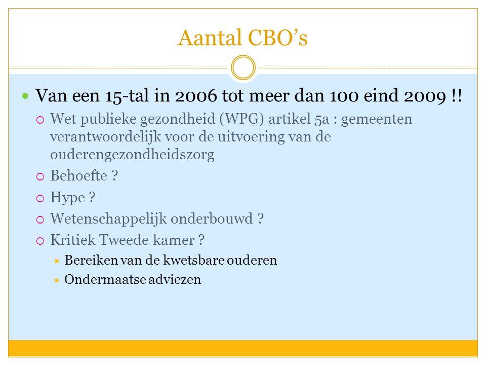 Aantal CBO's  Van een 15-tal in 2006 tot meer dan 100 eind 2009 !!  Wet publieke gezondheid (WPG) artikel 5a : gemeenten verantwoordelijk voor de ui