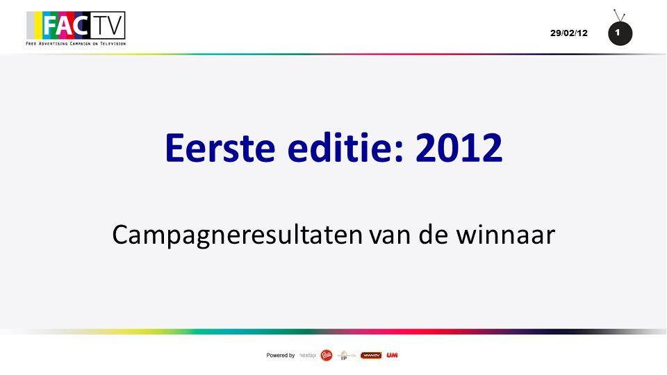 1 29/02/12 Eerste editie: 2012 Campagneresultaten van de winnaar