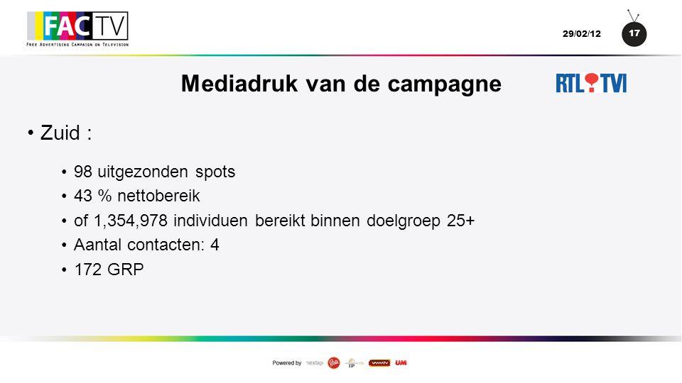 17 29/02/12 Mediadruk van de campagne •Zuid : •98 uitgezonden spots •43 % nettobereik •of 1,354,978 individuen bereikt binnen doelgroep 25+ •Aantal contacten: 4 •172 GRP
