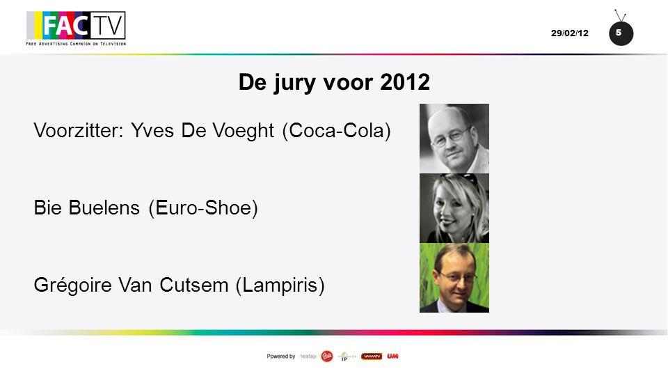 5 29/02/12 De jury voor 2012 Voorzitter: Yves De Voeght (Coca-Cola) Bie Buelens (Euro-Shoe) Grégoire Van Cutsem (Lampiris)