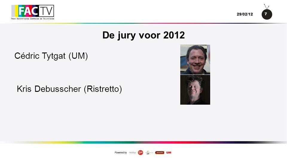 18 29/02/12 Mediadruk van de campagne •Noord : •128 uitgezonden spots.