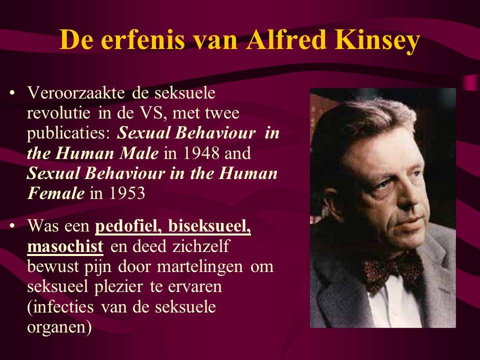 De erfenis van Alfred Kinsey •Veroorzaakte de seksuele revolutie in de VS, met twee publicaties: Sexual Behaviour in the Human Male in 1948 and Sexual
