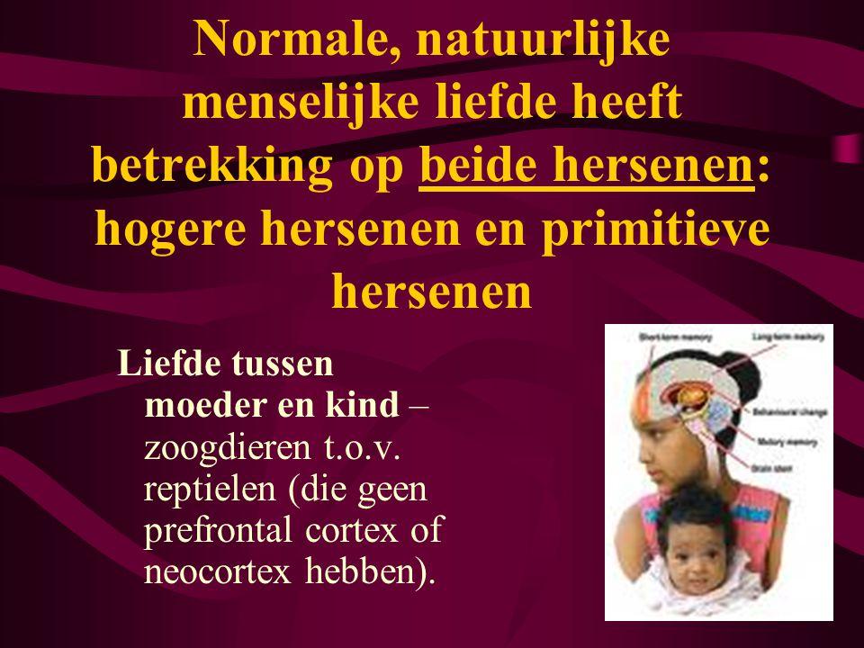 Normale, natuurlijke menselijke liefde heeft betrekking op beide hersenen: hogere hersenen en primitieve hersenen Liefde tussen moeder en kind – zoogd