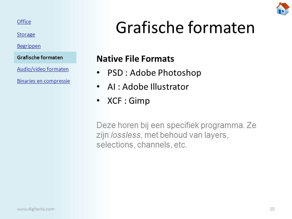Grafische formaten Native File Formats • PSD : Adobe Photoshop • AI : Adobe Illustrator • XCF : Gimp Office Storage Begrippen Grafische formaten Audio/video formaten Binaries en compressie www.digitanis.com10 Deze horen bij een specifiek programma.