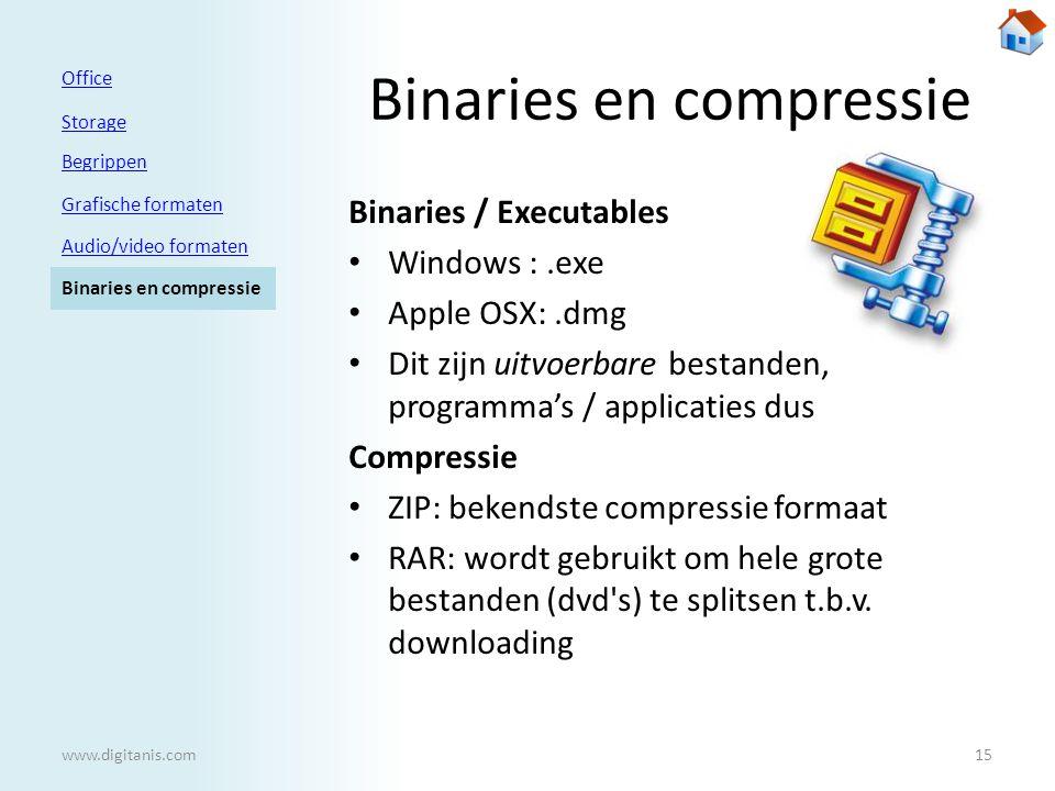 Binaries en compressie Binaries / Executables • Windows :.exe • Apple OSX:.dmg • Dit zijn uitvoerbare bestanden, programma's / applicaties dus Compressie • ZIP: bekendste compressie formaat • RAR: wordt gebruikt om hele grote bestanden (dvd s) te splitsen t.b.v.