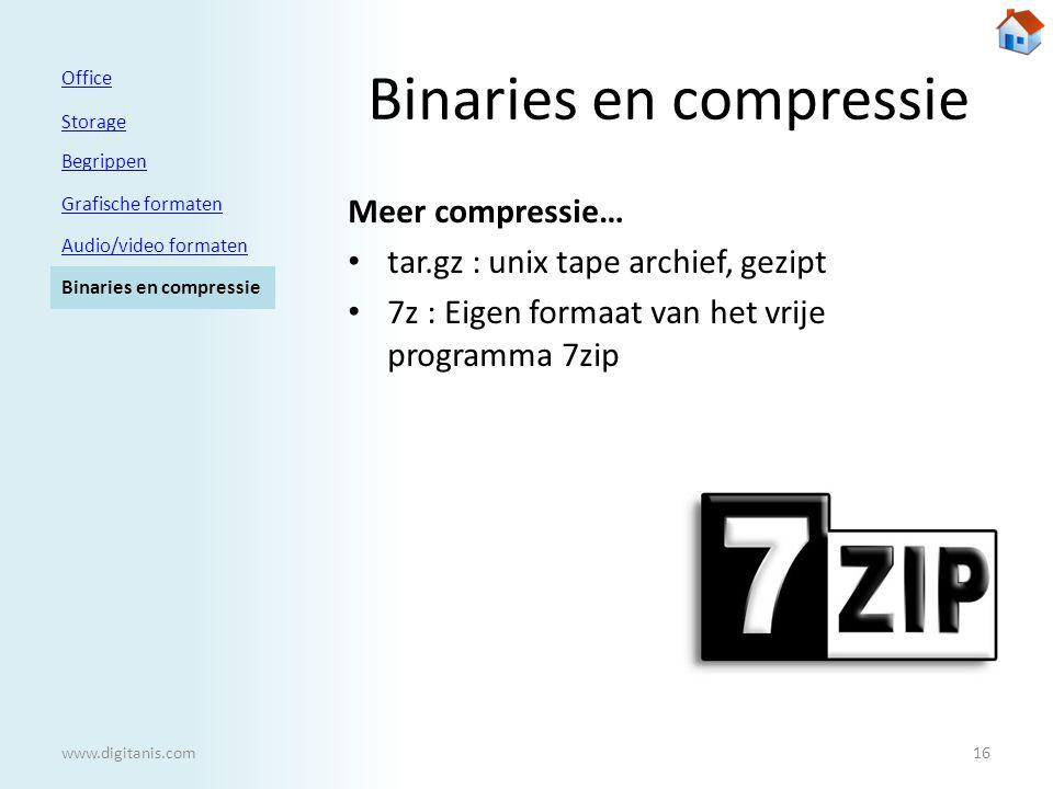 Binaries en compressie Meer compressie… • tar.gz : unix tape archief, gezipt • 7z : Eigen formaat van het vrije programma 7zip Office Storage Begrippen Grafische formaten Audio/video formaten Binaries en compressie 16www.digitanis.com