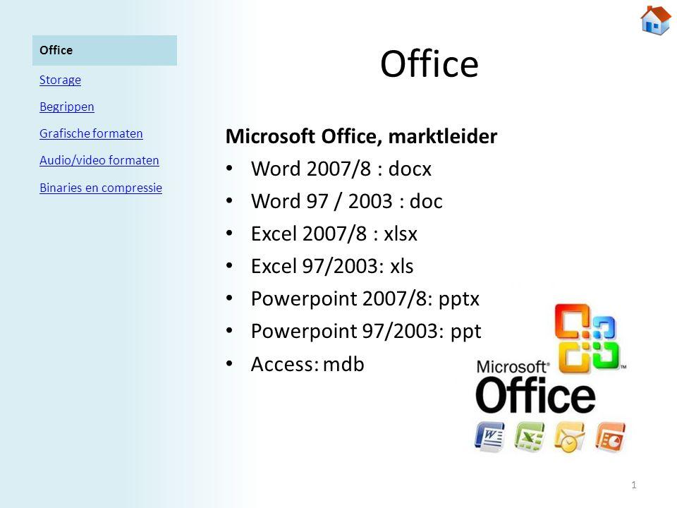 Office Openoffice.org, open source / gratis • OpenOffice.org Writer: odt • OpenOffice.org Calc: ods • OpenOffice.org Impress : odp • OpenOffice.org Base: odf Office Storage Begrippen Grafische formaten Audio/video formaten Binaries en compressie 2