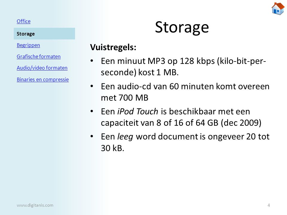 Storage Office Storage Begrippen Grafische formaten Audio/video formaten Binaries en compressie www.digitanis.com4 Vuistregels: • Een minuut MP3 op 128 kbps (kilo-bit-per- seconde) kost 1 MB.