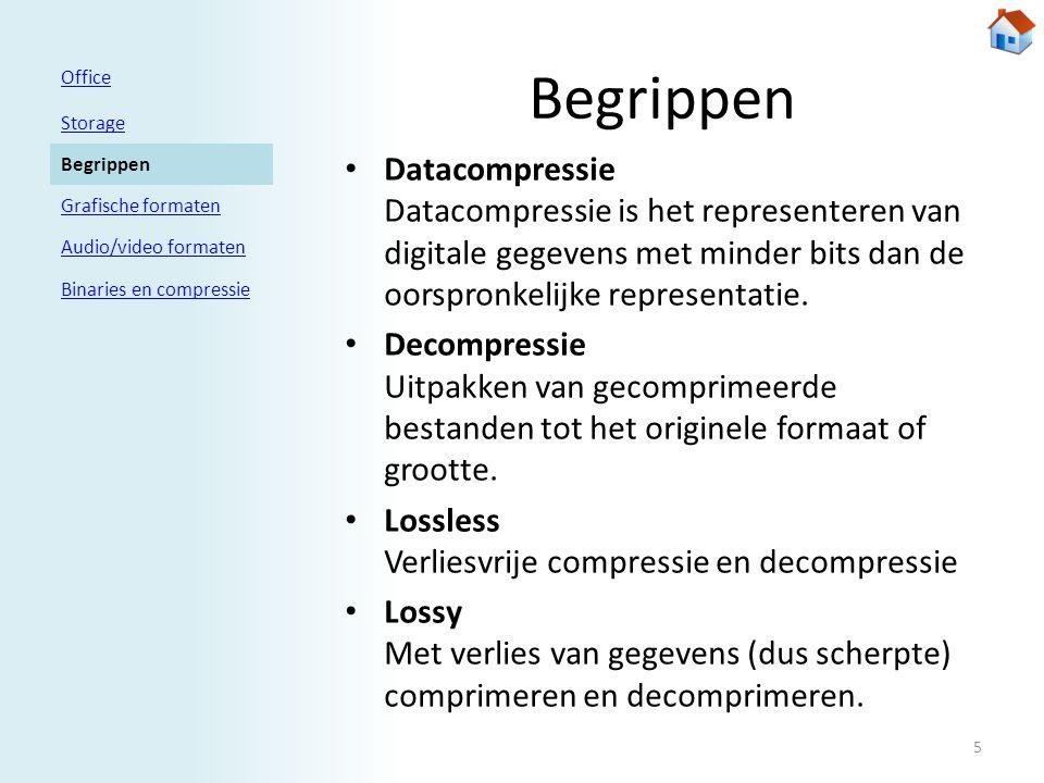 Begrippen • Datacompressie Datacompressie is het representeren van digitale gegevens met minder bits dan de oorspronkelijke representatie.
