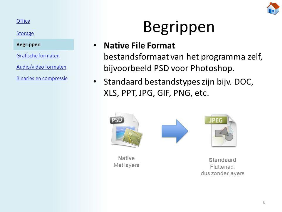 Begrippen • Native File Format bestandsformaat van het programma zelf, bijvoorbeeld PSD voor Photoshop.