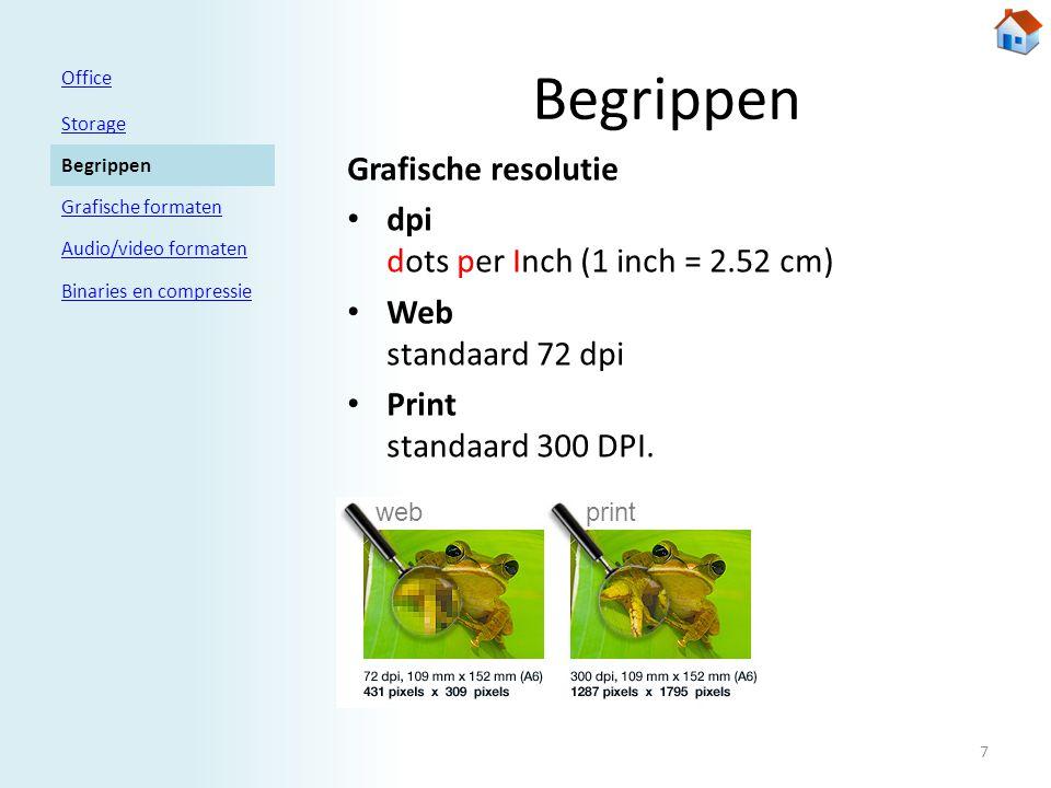 Begrippen Grafische resolutie • dpi dots per Inch (1 inch = 2.52 cm) • Web standaard 72 dpi • Print standaard 300 DPI.