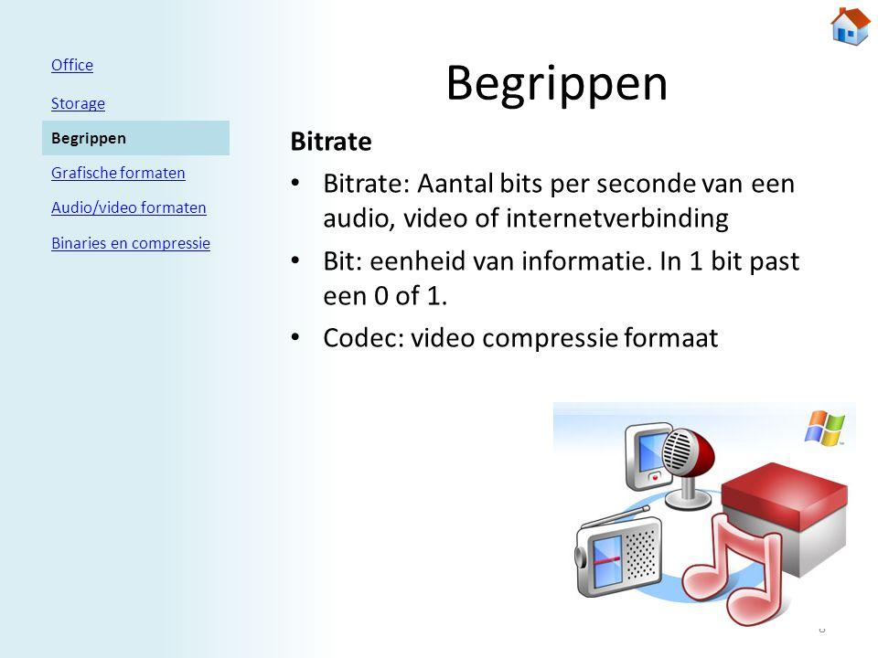 Begrippen Bitrate • Bitrate: Aantal bits per seconde van een audio, video of internetverbinding • Bit: eenheid van informatie.
