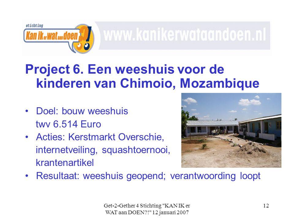 Get-2-Gether 4 Stichting KAN IK er WAT aan DOEN?! 12 januari 2007 12 Project 6.