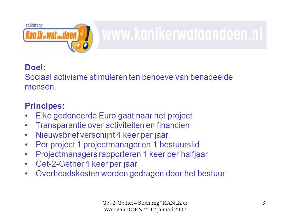 Get-2-Gether 4 Stichting KAN IK er WAT aan DOEN?! 12 januari 2007 3 Doel: Sociaal activisme stimuleren ten behoeve van benadeelde mensen.