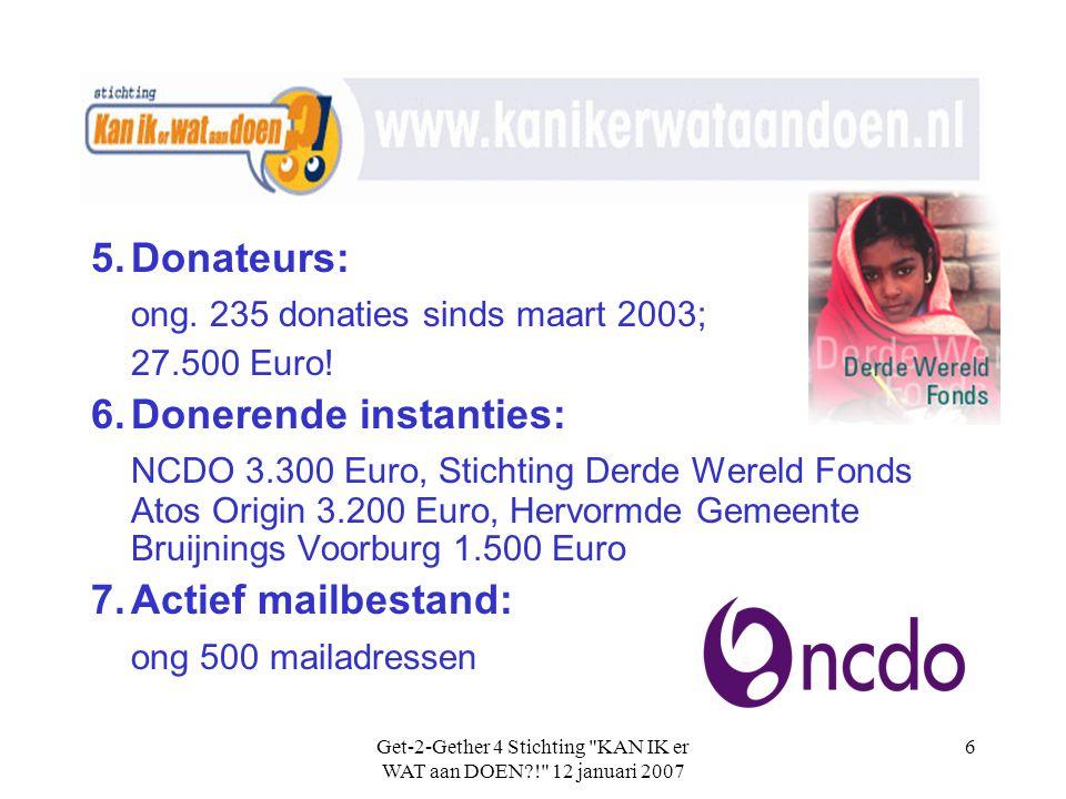Get-2-Gether 4 Stichting KAN IK er WAT aan DOEN?! 12 januari 2007 6 5.Donateurs: ong.