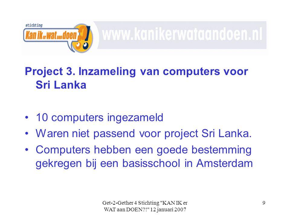 Get-2-Gether 4 Stichting KAN IK er WAT aan DOEN?! 12 januari 2007 9 Project 3.