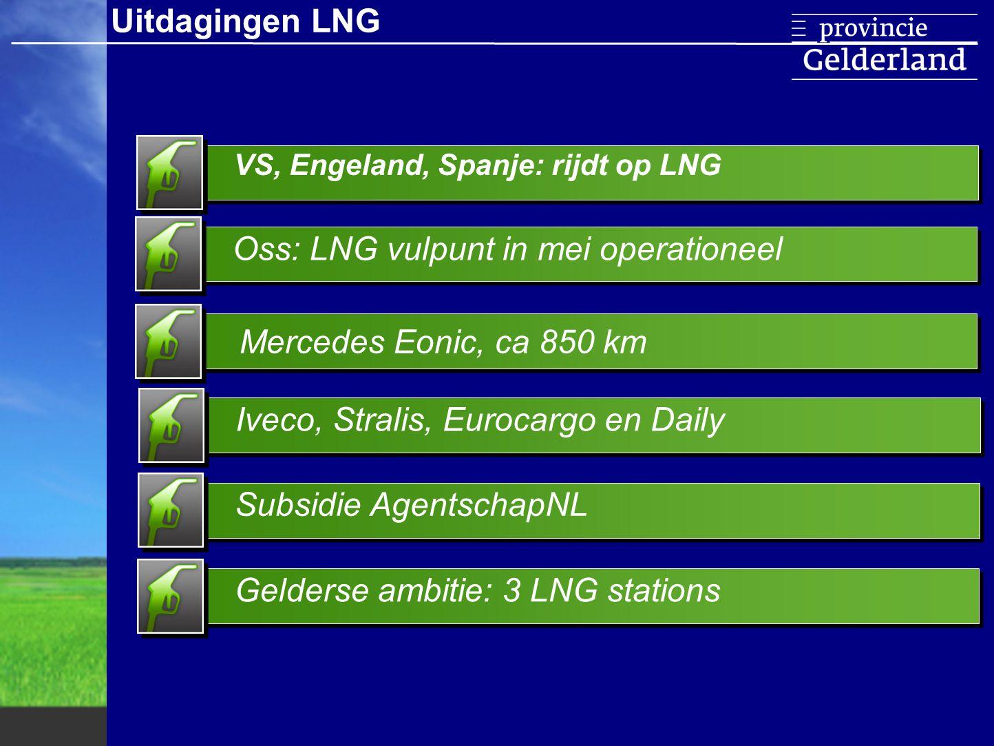 Voorkoming blow-off gas Voorwaarden L/CNG tankstation Uniforme homologatiecriteria LNG trucks Stabiel beleid accijnzen Uitdagingen LNG Aanpassing stations variabele drukUniforme kwaliteitseisen LNGConcurrerende business case