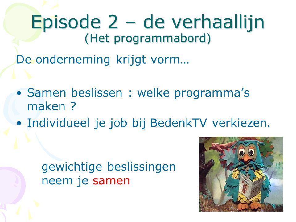 Episode 2 – de verhaallijn (Het programmabord) De onderneming krijgt vorm… •Samen beslissen : welke programma's maken ? •Individueel je job bij Bedenk