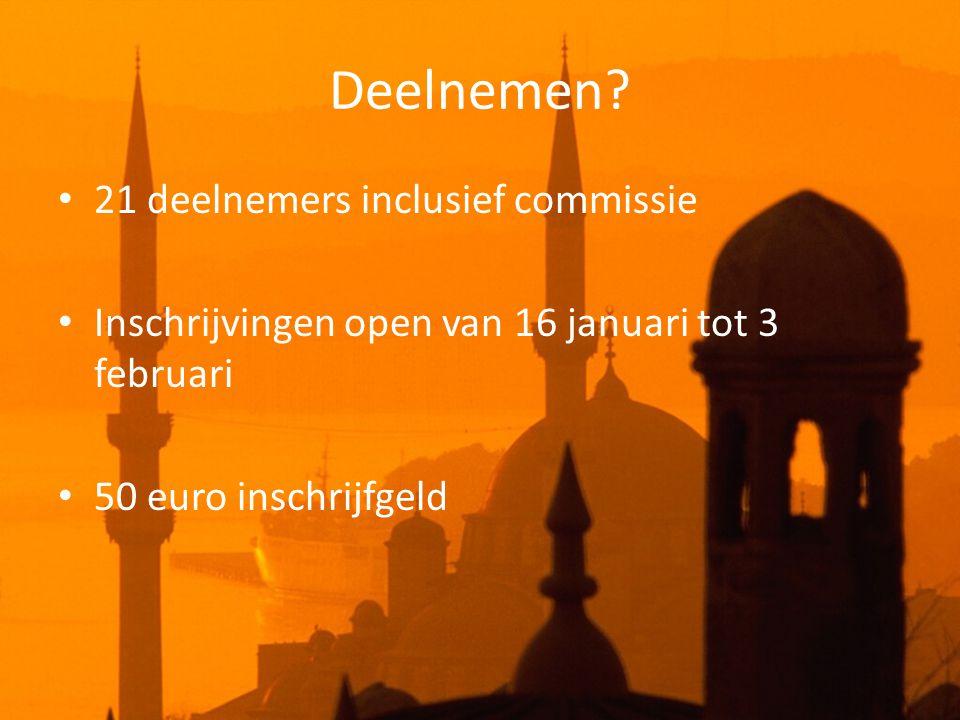 Deelnemen? • 21 deelnemers inclusief commissie • Inschrijvingen open van 16 januari tot 3 februari • 50 euro inschrijfgeld