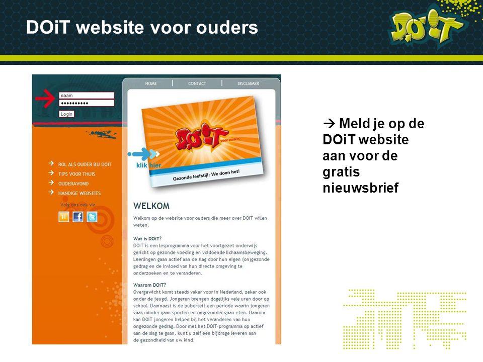 DOiT website voor ouders  Meld je op de DOiT website aan voor de gratis nieuwsbrief