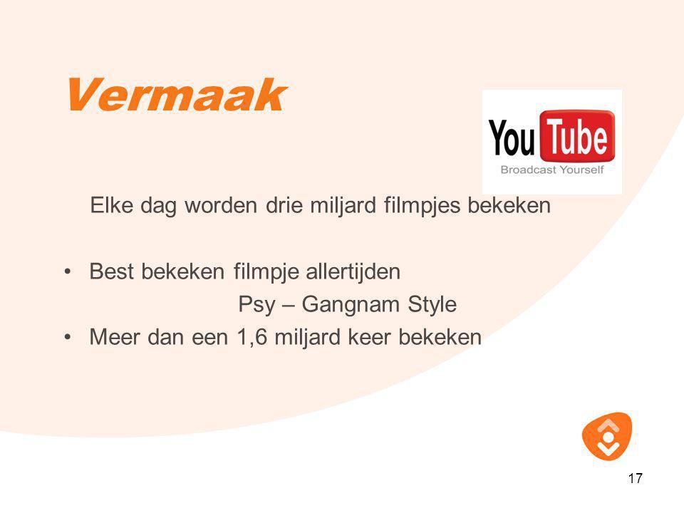 Vermaak Elke dag worden drie miljard filmpjes bekeken •Best bekeken filmpje allertijden Psy – Gangnam Style •Meer dan een 1,6 miljard keer bekeken 17