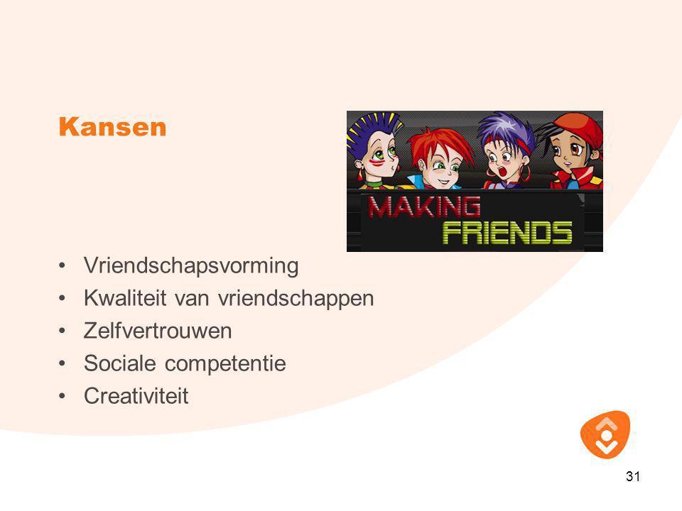 Kansen •Vriendschapsvorming •Kwaliteit van vriendschappen •Zelfvertrouwen •Sociale competentie •Creativiteit 31