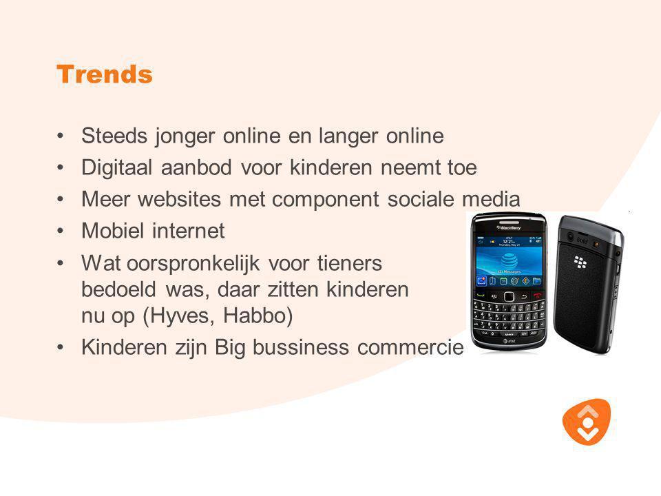Trends •Steeds jonger online en langer online •Digitaal aanbod voor kinderen neemt toe •Meer websites met component sociale media •Mobiel internet •Wa