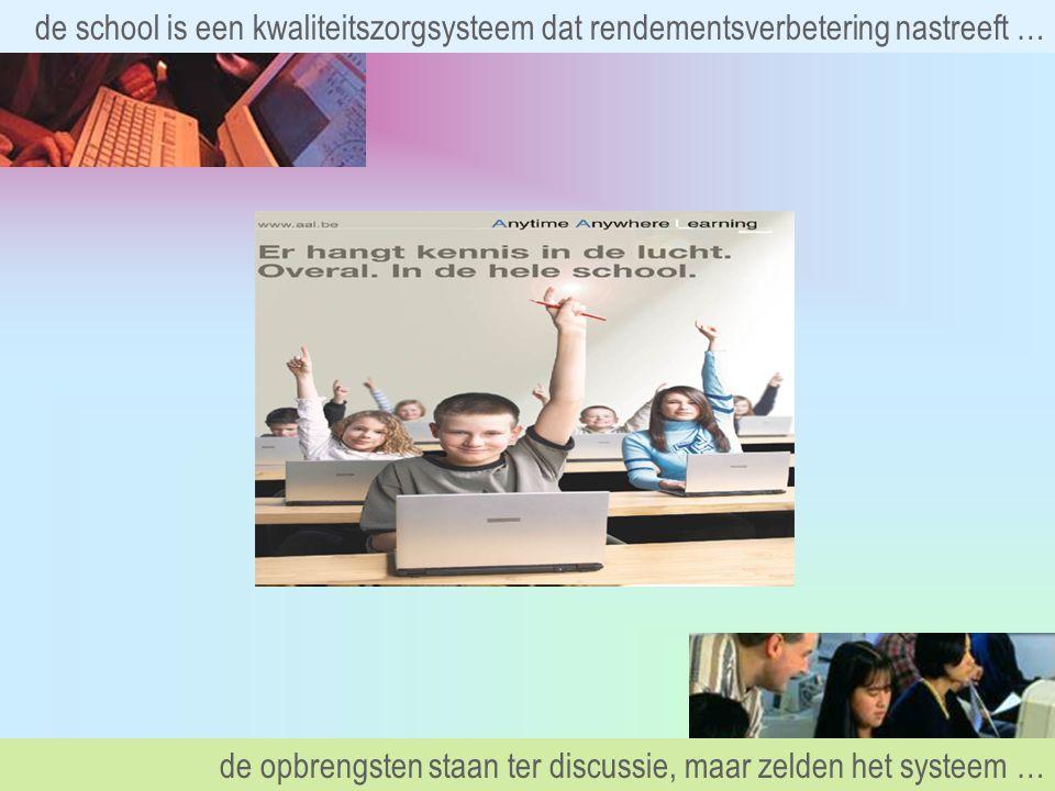 de school is een kwaliteitszorgsysteem dat rendementsverbetering nastreeft … de opbrengsten staan ter discussie, maar zelden het systeem …