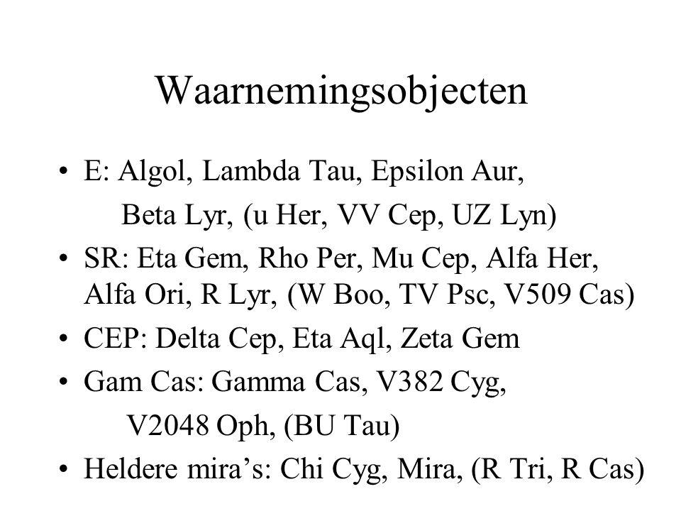 Waarnemingsobjecten •E: Algol, Lambda Tau, Epsilon Aur, Beta Lyr, (u Her, VV Cep, UZ Lyn) •SR: Eta Gem, Rho Per, Mu Cep, Alfa Her, Alfa Ori, R Lyr, (W Boo, TV Psc, V509 Cas) •CEP: Delta Cep, Eta Aql, Zeta Gem •Gam Cas: Gamma Cas, V382 Cyg, V2048 Oph, (BU Tau) •Heldere mira's: Chi Cyg, Mira, (R Tri, R Cas)