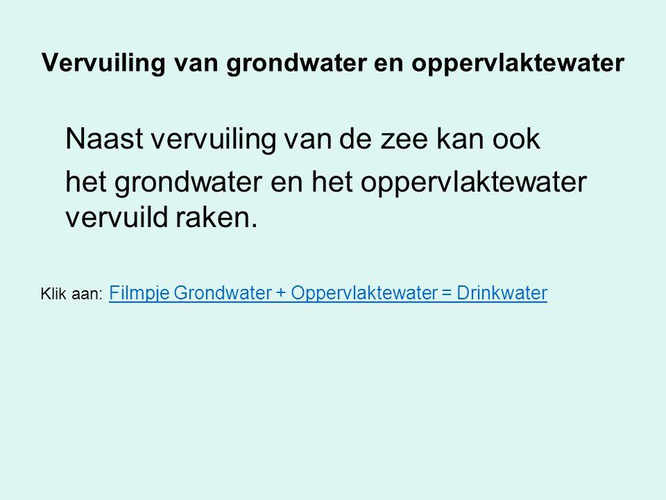 Vervuiling van grondwater en oppervlaktewater Naast vervuiling van de zee kan ook het grondwater en het oppervlaktewater vervuild raken. Klik aan: Fil