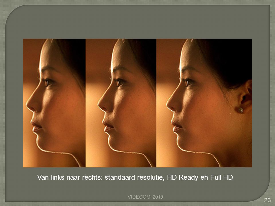 23 Van links naar rechts: standaard resolutie, HD Ready en Full HD