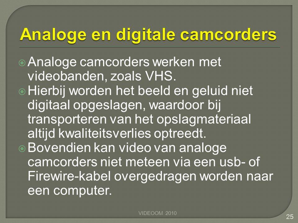  Analoge camcorders werken met videobanden, zoals VHS.  Hierbij worden het beeld en geluid niet digitaal opgeslagen, waardoor bij transporteren van