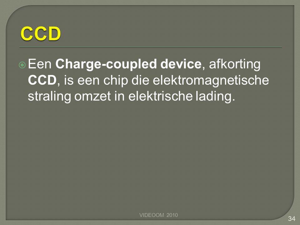 Een Charge-coupled device, afkorting CCD, is een chip die elektromagnetische straling omzet in elektrische lading. 34 VIDEOOM 2010