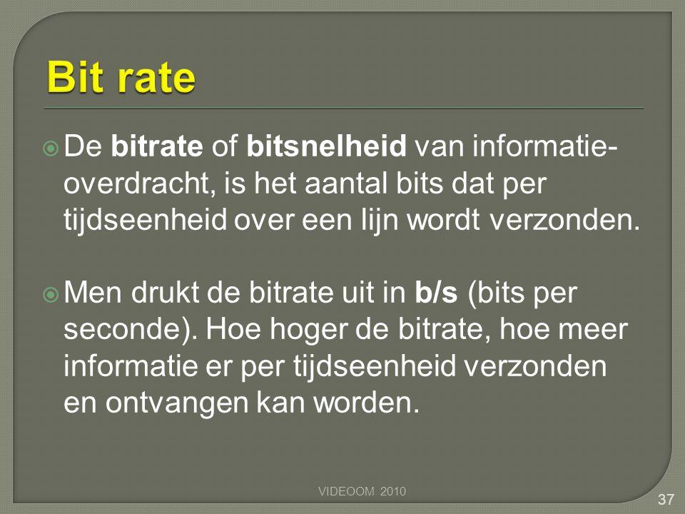  De bitrate of bitsnelheid van informatie- overdracht, is het aantal bits dat per tijdseenheid over een lijn wordt verzonden.  Men drukt de bitrate